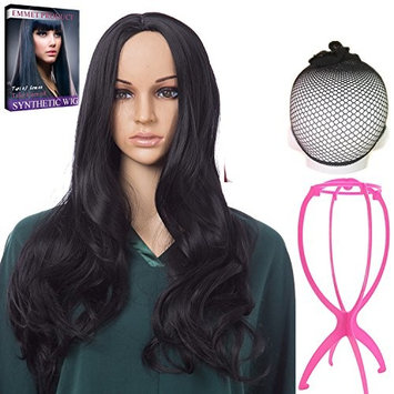 Emmet Long Wavy Synthetic Full Wigs Ombre Color Women's Quality Kanekalon Big Spiral Curly Cosplay Party Costume Wig with Free Wig Cap & Free Wig Stand Holder & Free Ebook (Black)