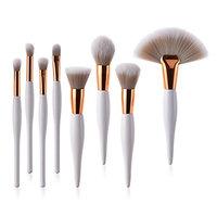 Muswannae 8 Pcs Professional Makeup Brushes Set Powder Foundation Contour Blending Eyeshadow Eyeliner Bronzer Lip Brush Kit (White Rose G