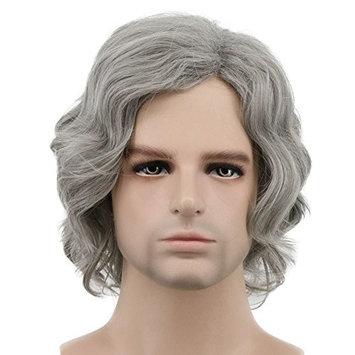 Karlery Men Short Bob Wave Gray Wig Halloween Cosplay Wig Anime Costume Party Wig