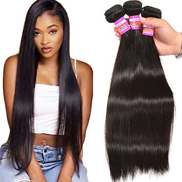 Unprocessed Brazilian Virgin Human Hair 3 Bundles Silky Straight Human Hair Weave Weft Grade 8A Real Cheap Hair Bundles Natural Black Color Can Be Dyed(12 12 12)