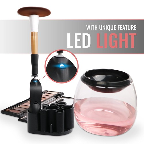 Makeup Brush Cleaner - RÉFLEXION Professional Cosmetic Brush Cleaning Spinner Kit For All Brush Sizes - Brush Washing & Drying Device - Eliminate Bacteria, Keep Your Skin Healthy and Maintain Brushes