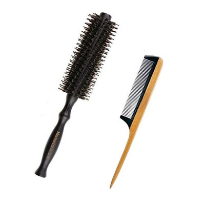 Aguder Natural Boar Bristles Hair Brush, Fine Tooth Comb Sandalwood Frame and Buffalo Horn Teeth Handmade Rat Tail Comb