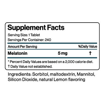 Melatonin Fast Acting Tablets, Quick Dissolve, 240 count, by BodyVega