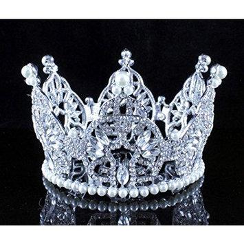 Janefashions Mini Bun Tiara Hair Crown Faux Pearl White Austrian Rhinestone Crystal Cake Topper M2313