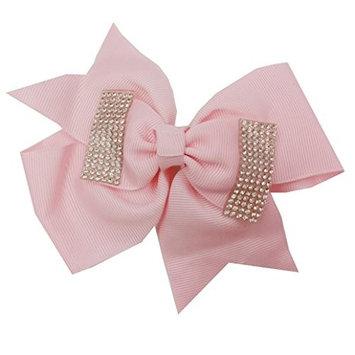 dds5391 Fashion Baby Girls Rhinestone Bowknot Forked Tail Hair Clip Ribbon Hairpin Hair Bow Headband Hairband
