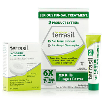 Terrasil® Antifungal Treatment 2-Product Anti-Fungal Ointment and Cleansing Bar System with All-Natural Activated Minerals® 6X Fungus Fighting Power (14gm tube and 75gm bar)