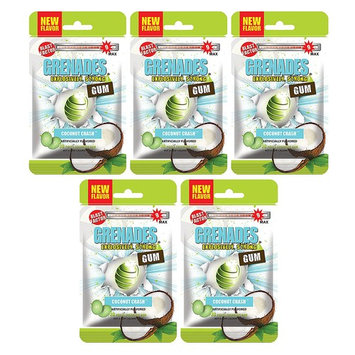 Grenades Explosively Strong Mint Sugar-Free Gum - Intense, Long Lasting Flavor and Breath Freshening - Pack of 5 (Coconut Crash) (150 Pieces)