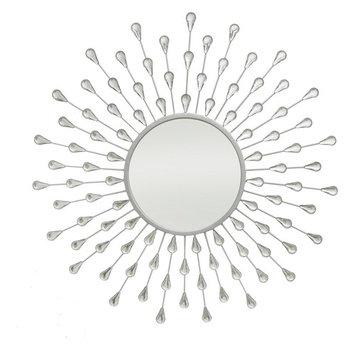 Three Hands Teardrop Starburst Jeweled Wall Mirror - 30 diam. in.