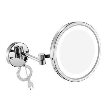 GURUN LED Lighted Wall Mount Mirror 8.5-Inch with 10x Magnification, Chrome Finish With Plug M1807D(8.5in,10x)