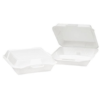 Genpak SN240 White Color Medium Snap It Foam Hinged Dinner Container Lid 100-Pack (Case of 2)