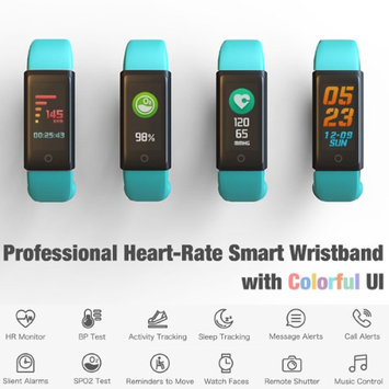 Indigi Slim Fitness Monitoring Wristband w/ OLED Screen & Full Health Tracking Suite (Heart Rate Monitor / Blood Pressure / Ped