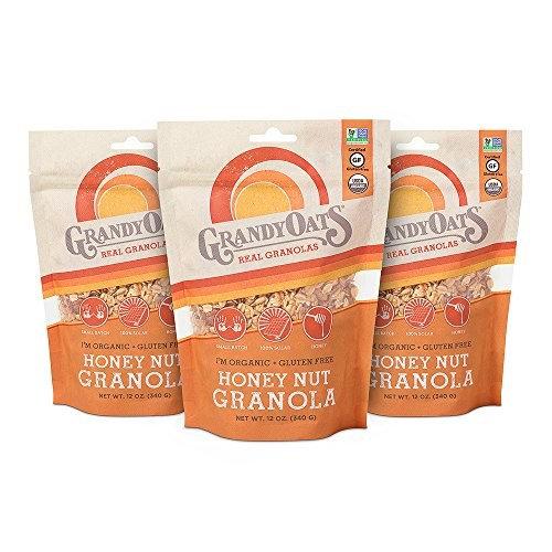 Honey Nut Granola, Certified Organic, Gluten Free, 12oz bags (Pack of 3)