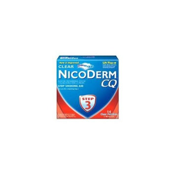 NicoDerm CQ Stop Smoking Aid 7 milligram Clear Nicotine Patches for Quitting Smoking, Step 3, 14 Count [3 Clear Patch]