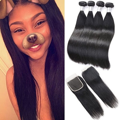 Brazilian Hair with Closure 3 Bundles Unprocessed Virgin Brazilian Straight Human Hair Bundles with Lace Closure Free Part Human Hair Extensions (10 10 12+8,Natural Color)