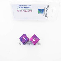 Wondertrail Products Violet Festive Dice with White Numbers D6 Aprox 16mm (5/8in) Pack of 2 Wondertrail