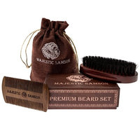 Majestic Samson Dual Action Wooden Beard Comb and Beard Brush Set, Hair Care Gift Set for Men with Cotton Bag, Perfect for use with Balms and Oils, Top Beard Kit for Home and Travel