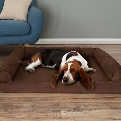 Dog Bed Orthopedic Pet Sofa Bed with Memory Foam and Foam Stuffed Bolsters 42x28x8.5 Brown