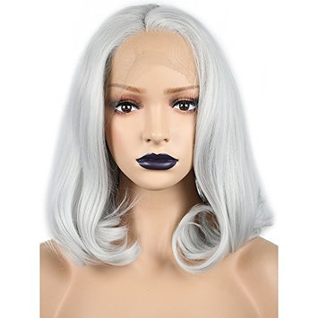 Anogol Hair Cap+Synthetic Lace Front Wig Gray Short Wavy Bob Wigs Middle Part Heat Resistant Fiber Hair for Women