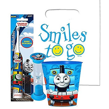 Thomas the Train Inspired 3pc Bright Smile Oral Hygiene Bundle! Thomas & Friends Turbo Powered Spin Toothbrush, Brushing Timer & Mouthwash Rinse Cup! Plus Dental Gift Bag & Tooth Saver Necklace!
