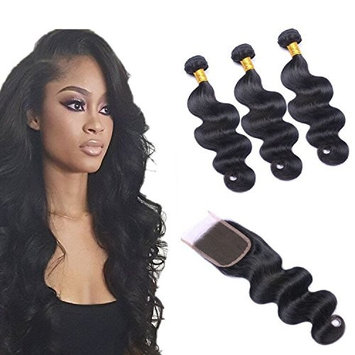 Brazilian Virgin Body Wave Bundles with Free Part Closure,8A 100% Unprocessed Human Hair Bundles with Full Lace Closure,Natural Color