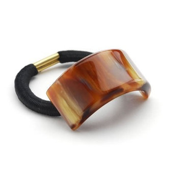 France Luxe Rectangle Ponytail Holder - Caramel Horn