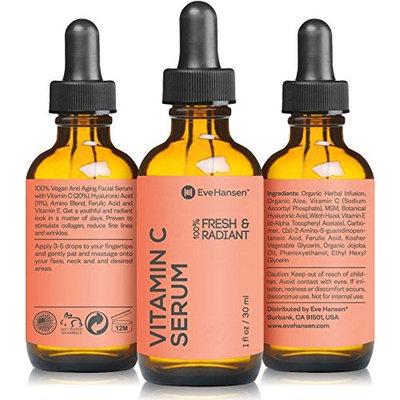 Natural Vitamin C Serum for Face - Hyaluronic Acid, Vitamin E Skin Brightening Serum, Dark Spot Remover and Anti Wrinkle Serum - Reduce Age Spots and Sun Damage - 1 oz Facial Serum by Eve Hansen