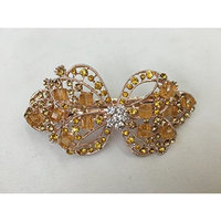 Gorgeous Vintage Jewelry Crystal Rhinestones Bow Design Hair Barrette Clips Hair Clips- Large Size - Amber Color -For Hair Beauty Tools