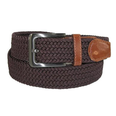 CTM Men's Big & Tall Elastic Braided Belt with Silver Buckle and Tan Tabs