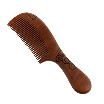 Homyl Comfortable Handmade Natural Peach Wood Hair Smoothing Comb Beard Mustache Grooming Wooden Brush Scalp Massage Tool