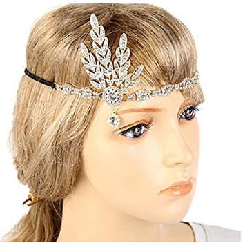 Meiysh Art Deco 1920's Flapper Great Gatsby Inspired Leaf Medallion Pearl Wedding Bridal Headpiece Headband (g