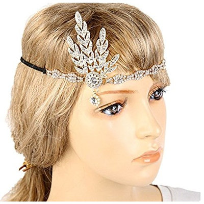 Meiysh Art Deco 1920's Flapper Great Gatsby Inspired Leaf Medallion Pearl Wedding Bridal Headpiece Headband (g