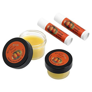Jojoba Oil Orange Travel Size Hand Salve and Lip Balm, all natural, cold pressed and undeoderized jojoba oil and mildly scented with Orange Zest, 2 Salve(0.5 oz/14 gm) 2 Lip balm(.15 oz/4.6 gm)4 units
