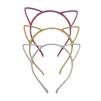 Glitter Cat Ears Headbands | Cute Fun Romantic Glitter Hair Band Hoop - Great for Holiday and Parties - for Babies Children and Adults- 3 Pack - Gold Silver Pink