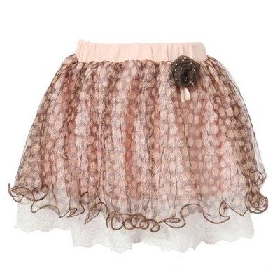 Richie House Little Girls Pink Coffee Polka Dot Mesh Covered Sweet Skirt 5/6