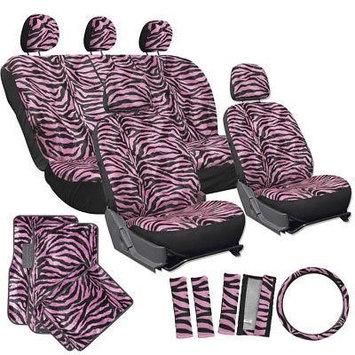 Istiloshoppe Car Accessories 21pc Pink Zebra Print Car Seat Covers Set w/Floor Mats Wheel Belt Pads Head Rest