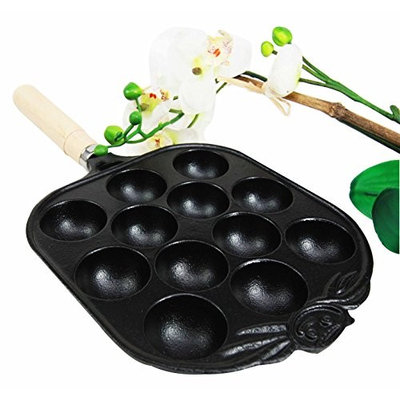 Gifts & Decors Personal Size Traditional Cast Iron Japanese Takoyaki And Dessert Cake Cooking Pan