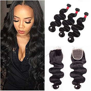 Brazilian Body Wave Virgin Hair 3 Bundles Hair Extensions with 44 Lace Closure Unprocessed 100% Human Hair Weave with Lace Closure Natural Color #1B (12 14 16 with 12inch)