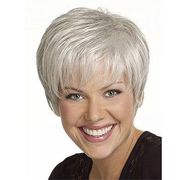 YX Short Straight Blonde Wig for women Synthetic hair wigs Full wig with bangs?