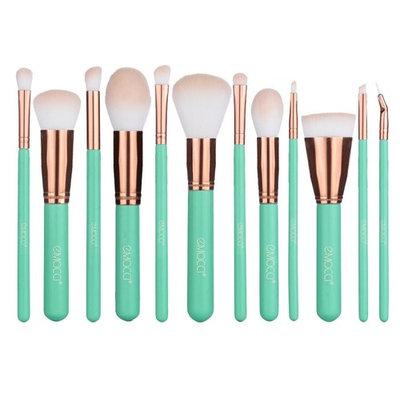 Makeup Brush Set, Soft Synthetic Bristles Make Up Powder Blush Contour Eyeshadow Lip Foundation Brushes Kit with Cosmetics Bag (12pcs Green)