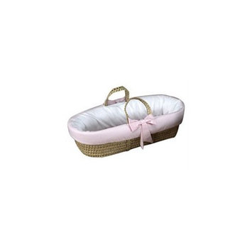 Babydoll Fitted Moses Basket with Gingham Trim, Pink