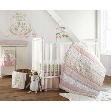 Levtex Baby Delia Blush and Gold Woodland Feathers 5 Piece Crib Bedding Set, Quilt, 100% Cotton Crib Fitted Sheet, Dust Ruffle, Diaper Stacker and Large Wall Decals