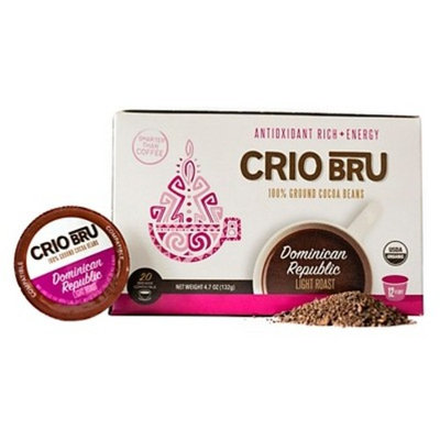 Cri Bru 100% Ground Cocoa Beans Alternative Dominican Republic Light Roast Coffee - Keurig K-Cup Pods - 24ct