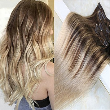 HairDancing 7Pcs 120g Full Set Clip in Hair Extensions Ombre Balayage Human Hair Clip in Human Hair Extensions Color #4 Fading to Color #18 Ash Blonde Hair Extensions Human Hair (18