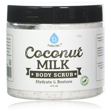 Pursonic Coconut Milk Body Scrub 14oz, with Dead Sea Salt, Almond Oil and Vitamin E for All Skin Type, Natural Skin Care Formula Helps with Stretch Marks, Eczema, Acne and Varicose Veins