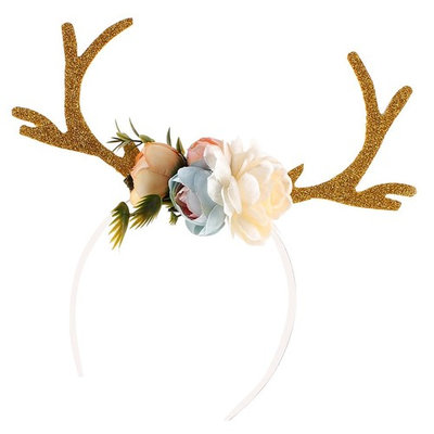 Dovewill New Hot Deer Antlers Head hoop Adult Kid Christmas DIY Headband of 4 Colors - Khaki, as described