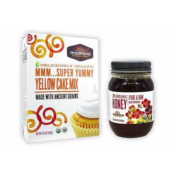 Madhava Organic Super Yummy Cake Mix with Ancient Grains, Yellow, 15.2 Ounce & Pure and Raw Honey, 22 Ounce (1 of Each)