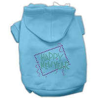 Mirage Pet Products Happy New Year Rhinestone Hoodies, Baby Blue, XX-Large/Size 18