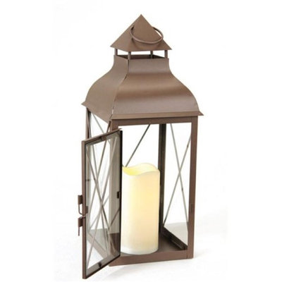 Melrose 16.75 Cottage Style Metallic Brown Lantern with Flameless LED Pillar Candle
