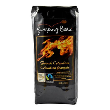 Jumping Bean French Colombian Fair Trade and Organic Coffee, Whole Bean - 1 lb