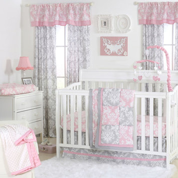 The Peanut Shell 3 Piece Baby Crib Bedding Set - Pink and Grey Damask Patchwork - 100% Cotton Quilt, Crib Skirt and Sheet